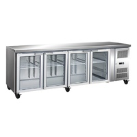 GN4100TNG 4 Glass Door Gastronorm Bench Fridge