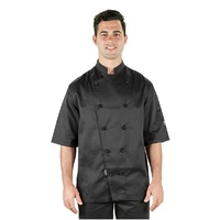 CHEF JACKET SHORT SLEEVE BLACK XLARGE